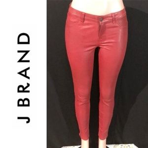 J BRAND Lamb Leather Ankle Zip Skinny Jeans Pants